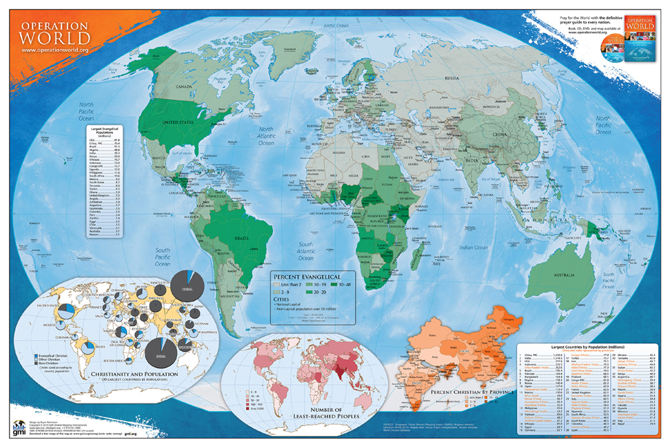 Operation World Prayer Map (UV Coated)
